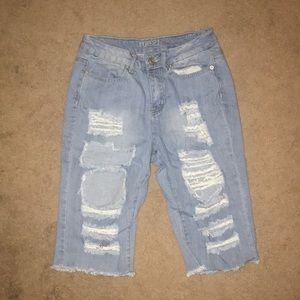 Distressed Denim Bermuda shorts